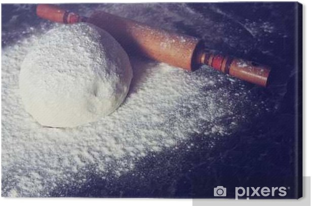 knead flour toned dough Canvas Print - Food