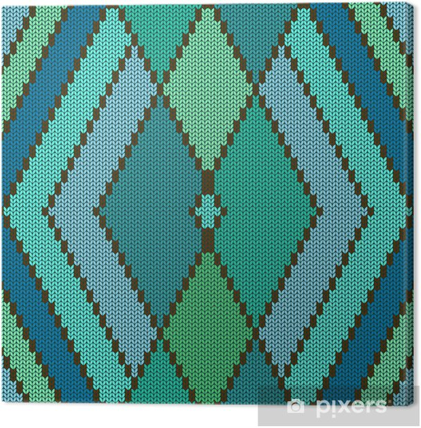 Knitted seamless pattern with rhombus Canvas Print - Textures