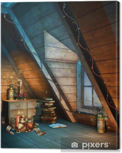 Kolorowy strych ze świątecznymi ozdobami Canvas Print - International Celebrations