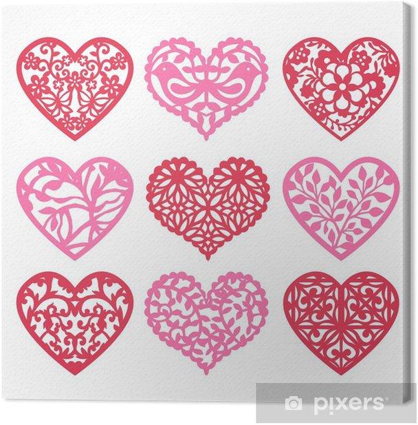 Lace Fretwork Hearts Set Canvas Print - Culture and Religion