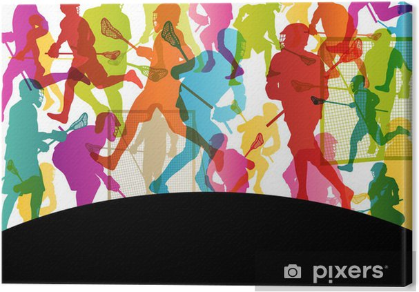 Lacrosse players active men sports silhouettes abstract backgrou Canvas Print - Other Feelings