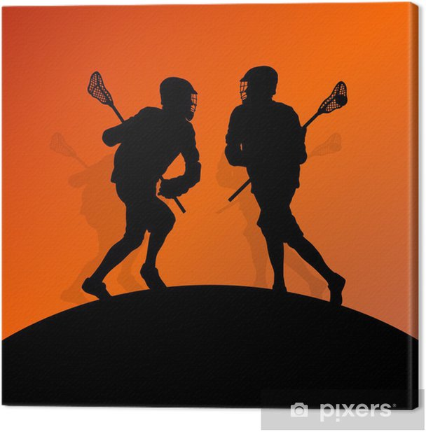 Lacrosse players active men sports silhouettes background illust Canvas Print - Other Feelings