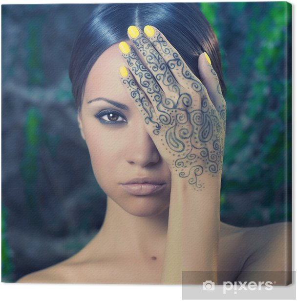 Lady with painted hands mehendi Canvas Print - Tattoos