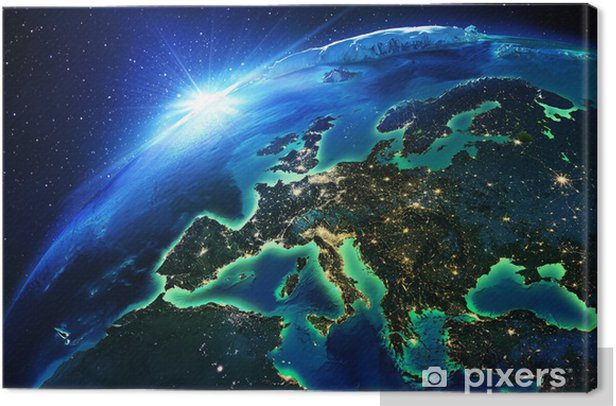 land area in Europe the night Canvas Print - Earth