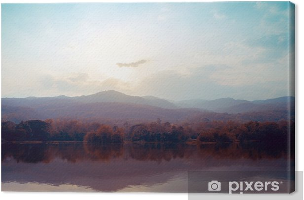Landscape of lake mountains in autumn - vintage styles. Canvas Print - Landscapes