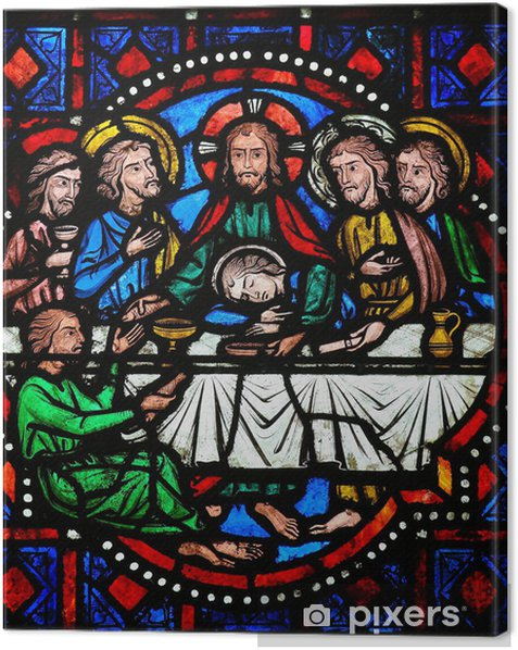 Last Supper on Maundy Thursday - Stained Glass in Tours Canvas Print - Themes