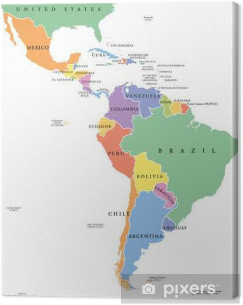Political Map Of America States.Latin America Single States Political Map Countries In Different Colors With National Borders And English Country Names From Mexico To The Southern