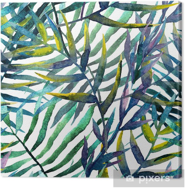 Leaves abstract pattern in watercolor Canvas Print - iStaging