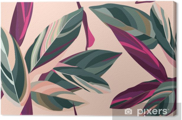 Leaves of Cordelia on a pink background. Floral seamless pattern. Canvas Print - Plants and Flowers