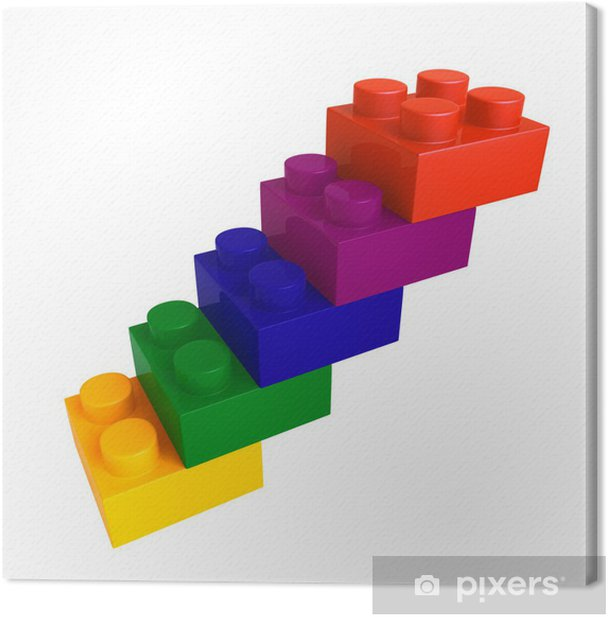 lego color block stair Canvas Print - Games
