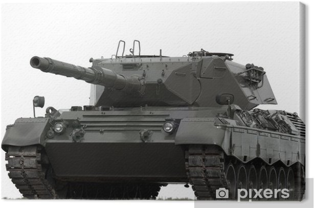 Leopard Military Tank on White Canvas Print - Themes