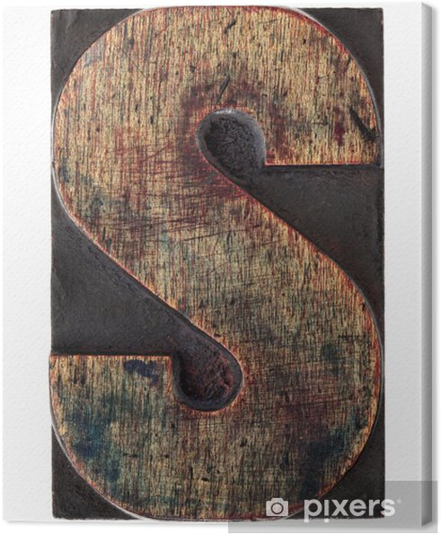 Letter S In Vintage Wood Type Canvas Print