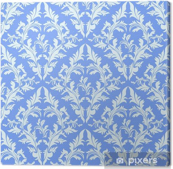 Light Blue Seamless Damask Wallpaper Canvas Print