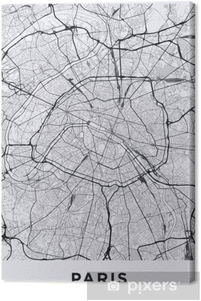 Light Paris city map. Road map of Paris (France). Black and white (light)  illustration of parisian streets. Printable poster format (portrait).  Canvas ...
