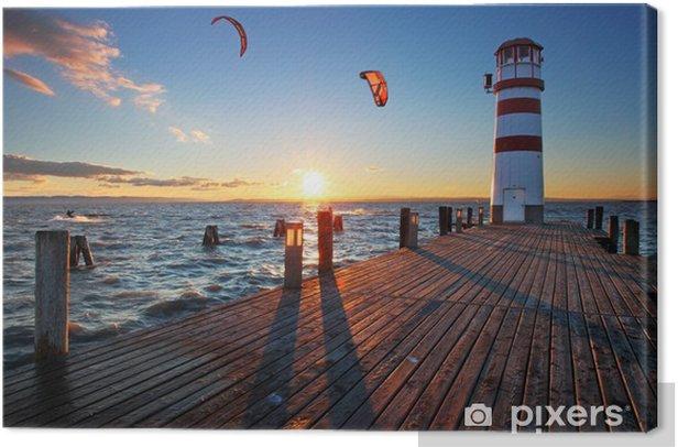 Lighthouse at Lake Neusiedl at sunset Canvas Print - Lighthouse