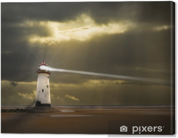 lighthouse in a storm with beam shining to sea Canvas Print - Lighthouse