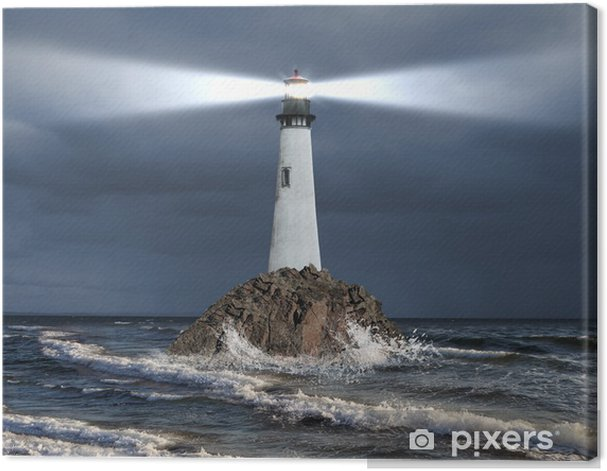 Lighthouse with a beam of light Canvas Print - Lighthouse