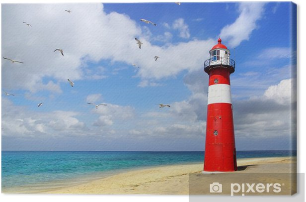 Lighthouse with flying seagulls. Westkapelle Canvas Print - Lighthouse