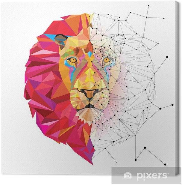 Lion head in geometric pattern with star line vector Canvas Print - Other Other