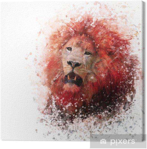 Lion Head watercolor Canvas Print - Animals