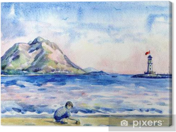 little boy on the beach. Seascape with lighthouse. Watercolor painting Canvas Print - People