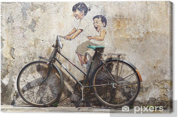 """""""Little Children on a Bicycle"""" Mural. Canvas Print - Cycling"""