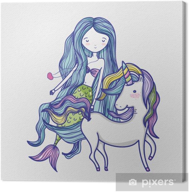 Little mermaid with unicorn art cartoon Canvas Print - Graphic Resources