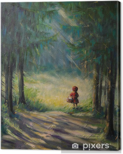 Little Red Riding Hood fairy tale. Canvas Print - Forests