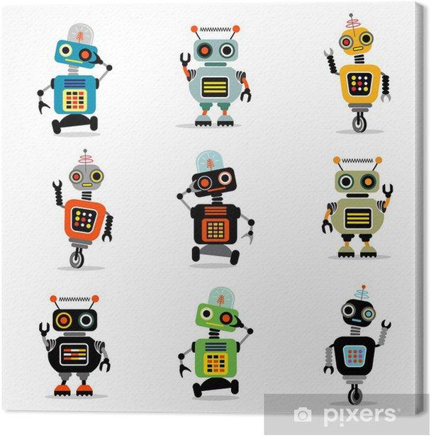 little robots set 3 Canvas Print - Destinations