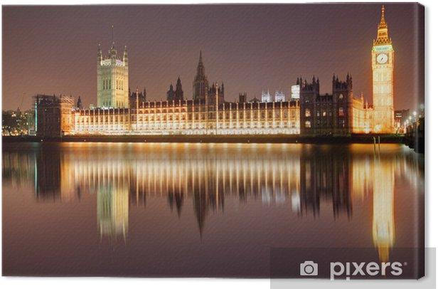 London at night - Houses of parliament, Big Ben Canvas Print - Themes