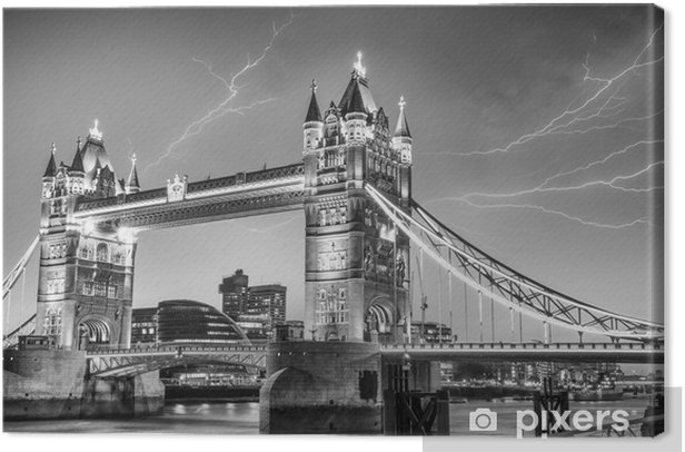 London. Majesty of Tower Bridge on a stormy evening Canvas Print - European Cities
