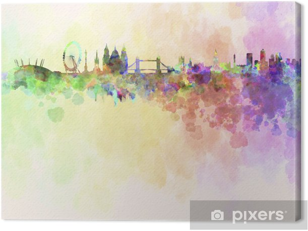 London skyline in watercolor background Canvas Print - Styles