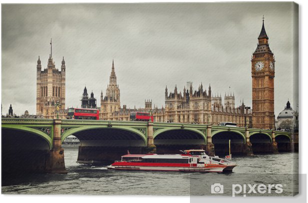 London, the UK. Big Ben, the River Thames, red buses and boat Canvas Print - Themes