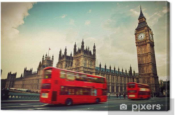 London, the UK. Red bus in motion and Big Ben Canvas Print - Themes