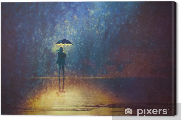 lonely woman under umbrella lights in the dark,digital painting Canvas Print - Hobbies and Leisure