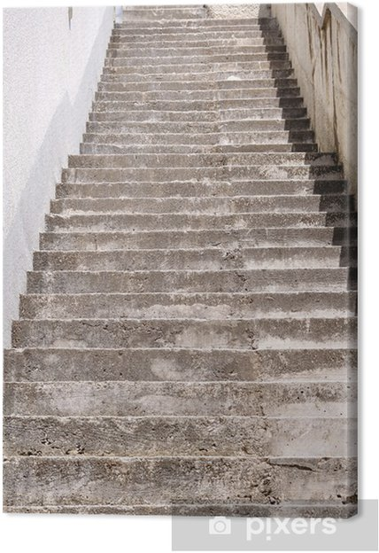 Long stairs with many steps of a high