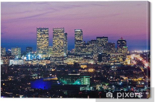 los angeles skyline at dusk. view of century city Canvas Print - Themes