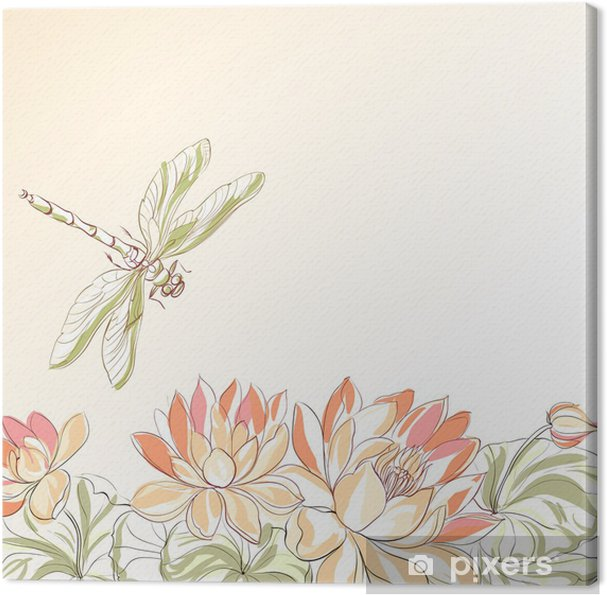 Lotus Flower And Dragonfly Canvas Print Pixers We Live To Change