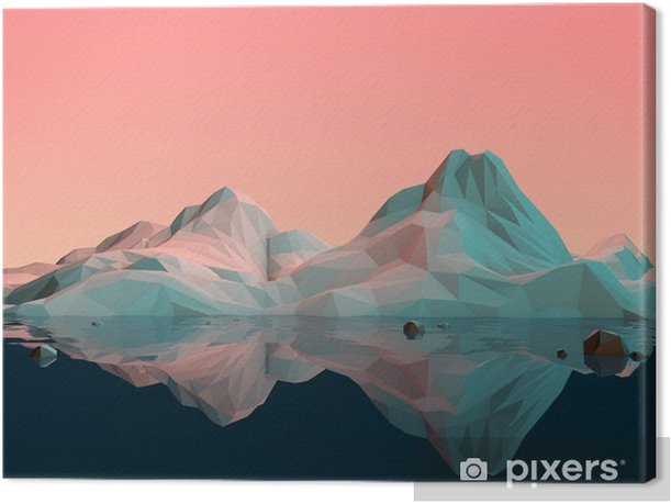 Low-Poly 3D Mountain Landscape with Water and Reflection Canvas Print - Sports