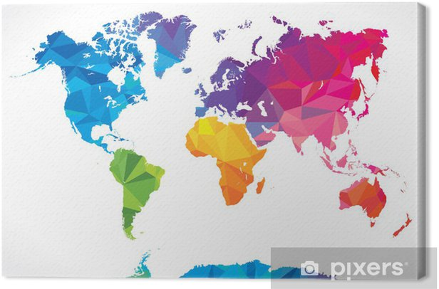 Low poly world map Canvas Print - Abstract