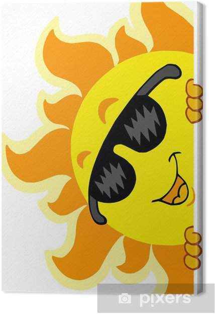 Lurking Sun with sunglasses Canvas Print - Outer Space