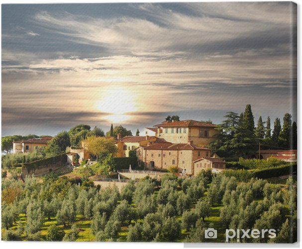 Luxury villa in Tuscany, famous vineyard in Italy Canvas Print - Themes