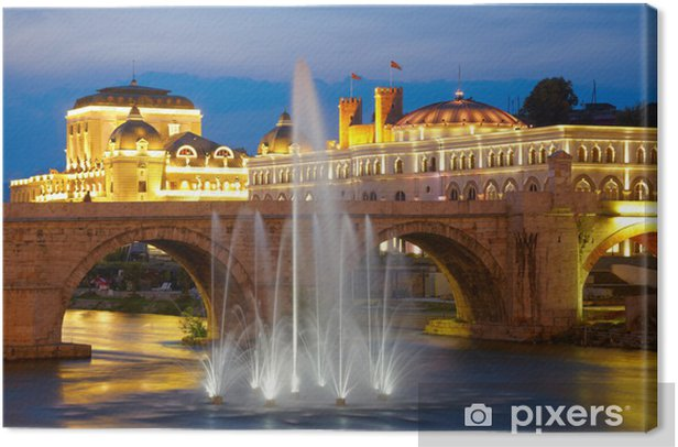 Macedonian's capital city Skopje. Old stone bridge Canvas Print - Europe