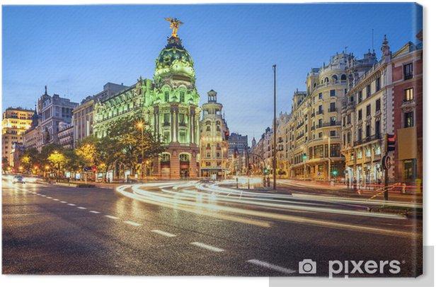 Madrid, Spain Gran Via Shopping Street Cityscape Canvas Print - European Cities