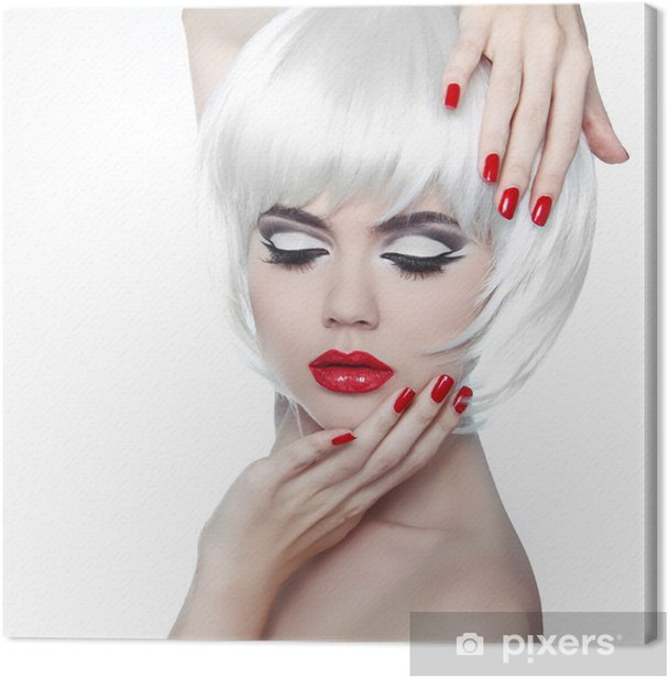 Makeup and Hairstyle. Red Lips and Manicured Nails. Fashion Beau Canvas Print - Fashion