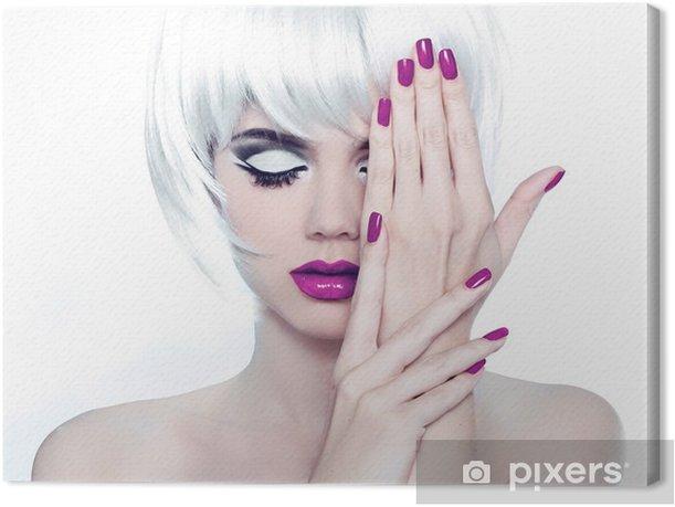 Makeup and Manicured polish nails. Fashion Style Beauty Woman Po Canvas Print - Hair salon
