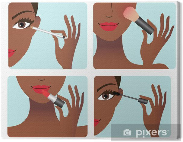 Makeup application process Canvas Print - Fashion