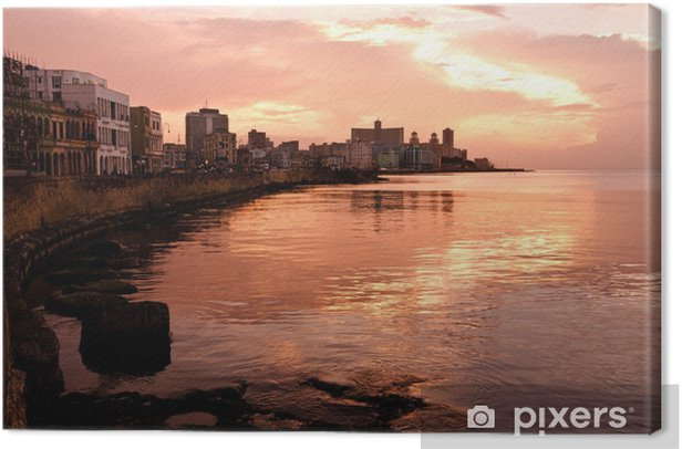 Malecon at Sunset. Havana (Cuba) Canvas Print - Themes