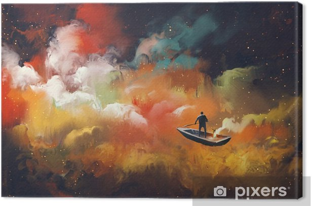 man on a boat in the outer space with colorful cloud,illustration Canvas Print - Hobbies and Leisure