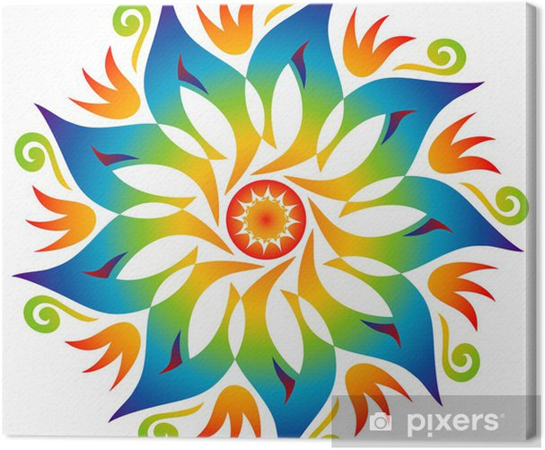 Mandala Energie Couleurs Arc en Ciel Canvas Print - Wall decals